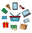 Trading and online shopping icons vector image vector image