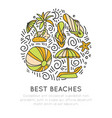 tropical summer beach icon concept ball umbrella vector image vector image