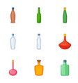 types of bottle icons set cartoon style vector image vector image