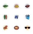 Vacation icons set pop-art style vector image vector image