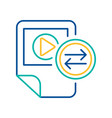 video files exchange blue and yellow linear icon vector image vector image
