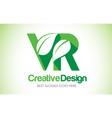 vr green leaf letter design logo eco bio leaf vector image vector image