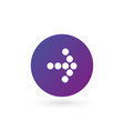 white right dotted arrow in purple gradient