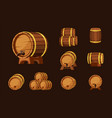 wine wooden barrels set oak plank containers with vector image vector image