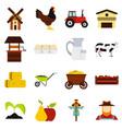 farm set flat icons vector image