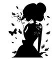 Beauty Girl Silhouette with Leaf Beautiful woman vector image