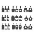 bottle icon set symbol vector image