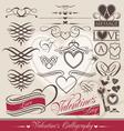 valentines day calligraphic elements vector image