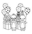 animals with happy birthday icon design vector image vector image