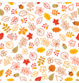 autumn leaves seamless pattern leaf icon set in vector image vector image