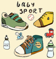 Baby shoes set sketch handdrawn in color vector image