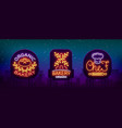 bakery collection of logos in neon style vector image