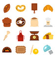 bakery set flat icons vector image