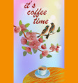 banner spring leaves blooming cherry blossom coff vector image