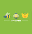 bee and butterfly set cute slylised insect design vector image