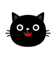 black cat round face head silhouette icon cute vector image vector image