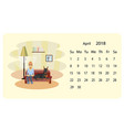 calendar 2018 for april vector image vector image