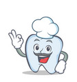 chef tooth character cartoon style with okay vector image vector image