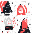 christmas cute hand drawn seamless pattern vector image vector image