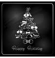 Christmas Tree with Hipster Gifts Chalkboard vector image