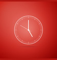 clock icon isolated on red background time icon vector image vector image