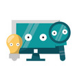 computer and magnifying glass with bulb light vector image vector image