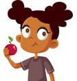 cute african girl eating an apple cartoon vector image vector image