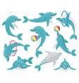 cute cartoon dolphins underwater fauna mammal vector image vector image