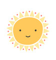 cute funny sun with smiling face isolated on white vector image