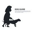 dog guide silhouette old woman holding pet vector image