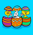 easter bunny and chickens cartoon vector image vector image