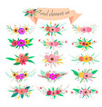 floral element set decorative flower and leaf vector image vector image