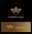 gold letter w line logo vector image vector image