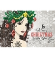 Hand drawn Christmas beautiful woman vector image