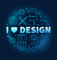 i love graphic design blue round vector image vector image