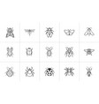 insects sketch icon set vector image vector image