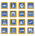 logistic icons set blue vector image vector image