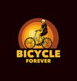 logo design bicycle forever with skeleton riding vector image