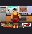 man cooking vector image vector image