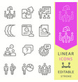 Management consulting line icons set black