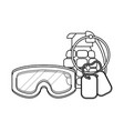 military goggles with grenade and dog tag plate vector image