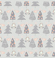 modern christmas trees doodle vector image vector image