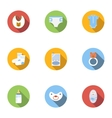 Newborn icons set flat style vector image vector image