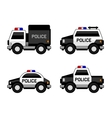 Police Car Set Classic Black and White Colors vector image vector image