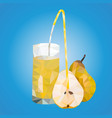 polygonal triangles ripe pears and a glass with vector image vector image