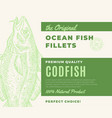 premium quality fish fillets abstract fish vector image