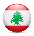 Round glossy icon of Lebanon vector image vector image