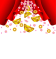 Sakura blossom and gold ingot fall from red vector image vector image