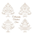 Set of Calligraphy Christmas trees vector image vector image