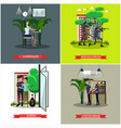 set of catching thief concept posters in vector image